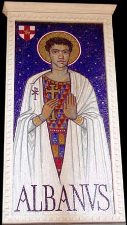 Saint Alban designed by Chris Hobbs, mosaic work by Tessa Hunkin